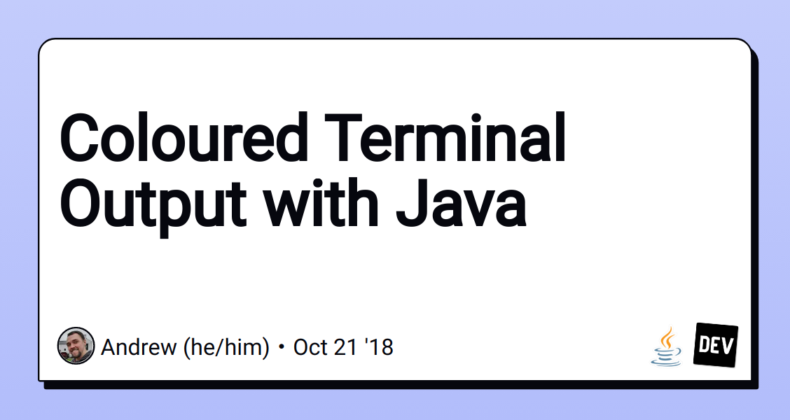 Coloured Terminal Output with Java - DEV Community 👩 💻👨 💻
