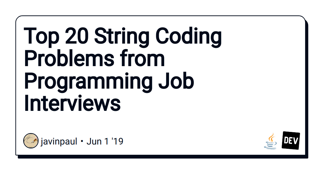 Top 20 String Coding Problems from Programming Job
