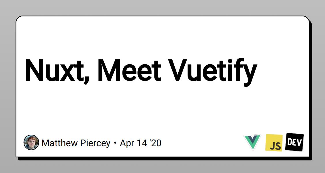 Nuxt, Meet Vuetify