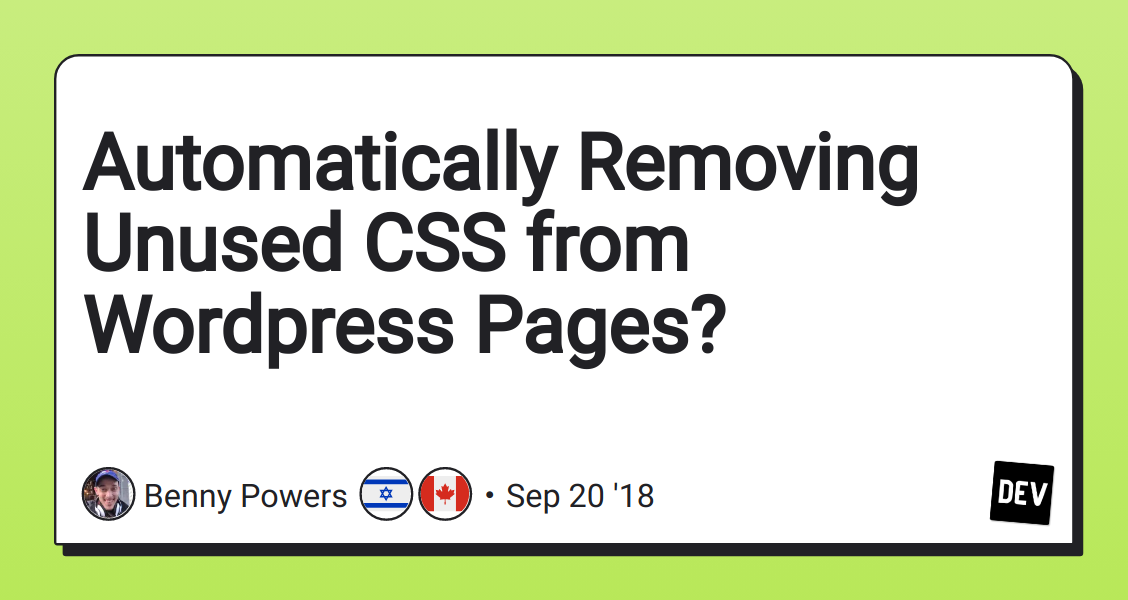 Automatically Removing Unused CSS from Wordpress Pages