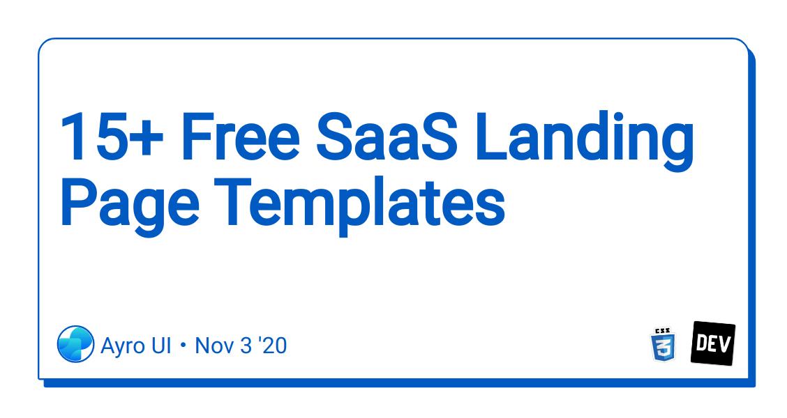 15+ Free SaaS Landing Page Templates - DEV Community