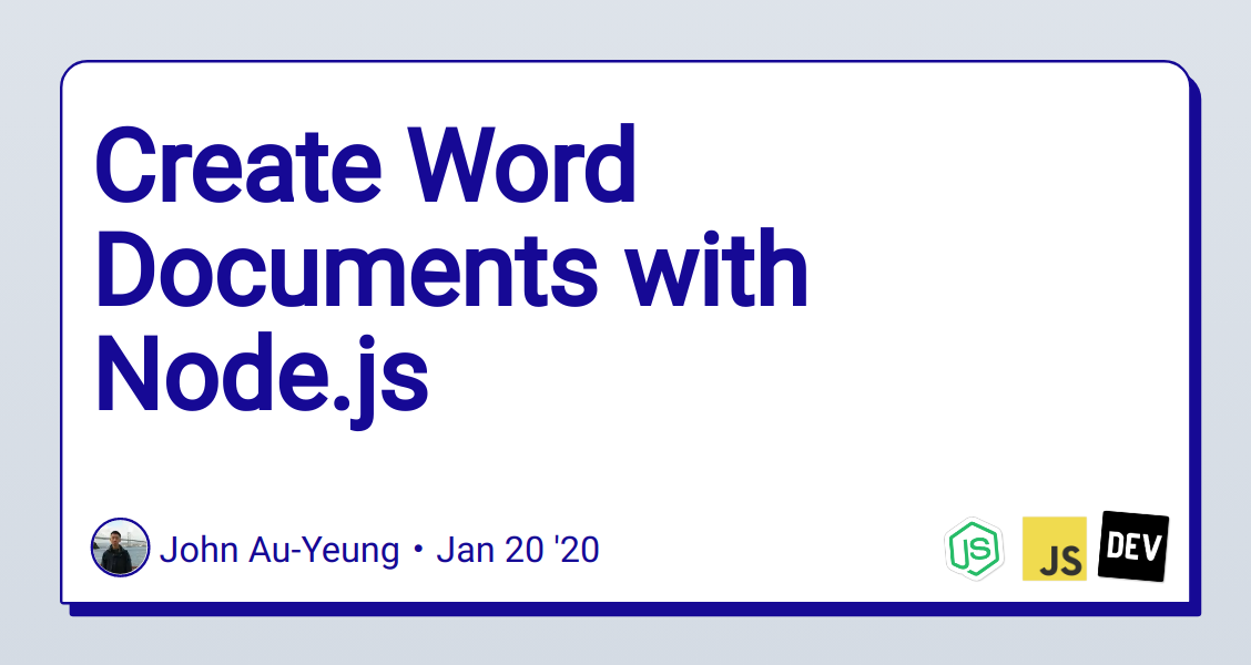 Create Word Documents with Node.js
