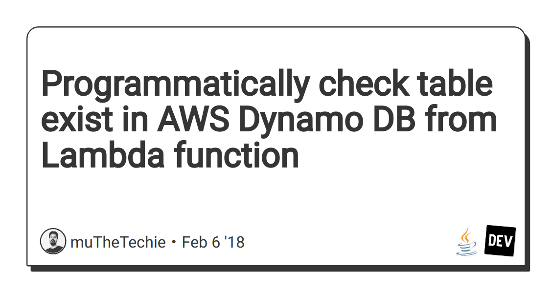 Programmatically check table exist in AWS Dynamo DB from