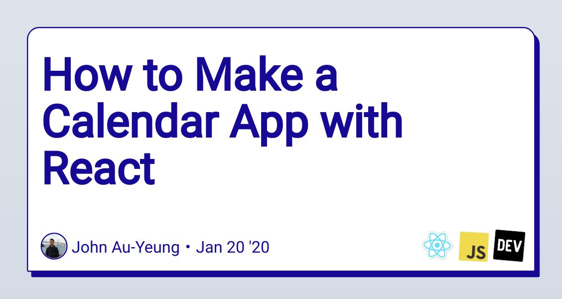 How to Make a Calendar App with React