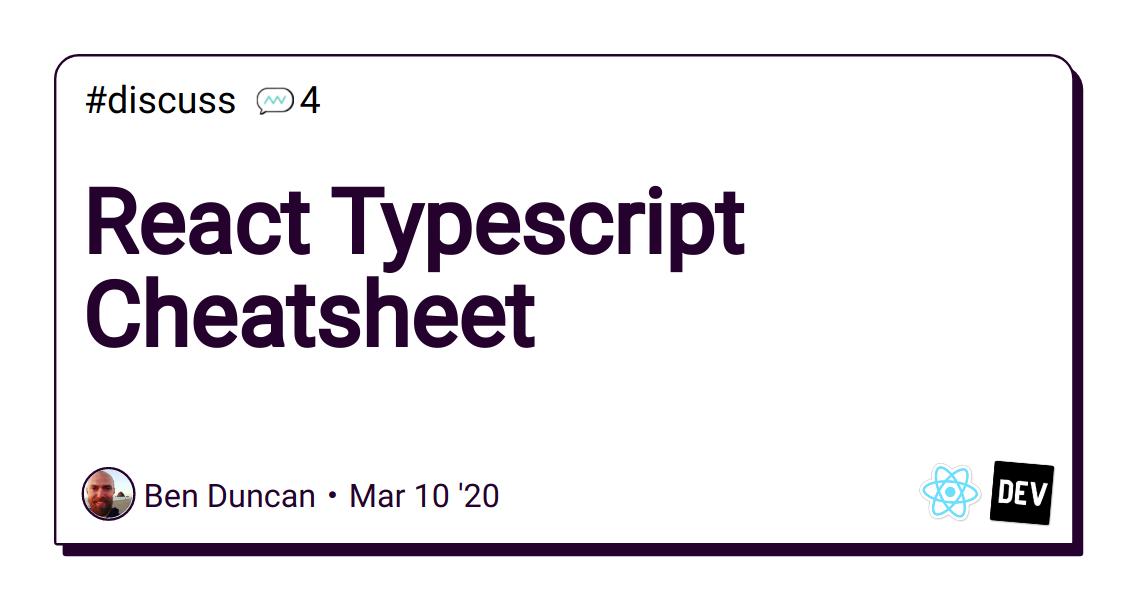 React Typescript Cheatsheet - DEV