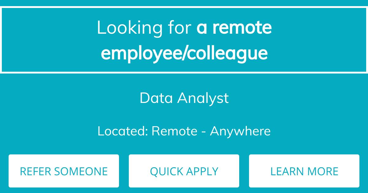Remote job] Data Analyst