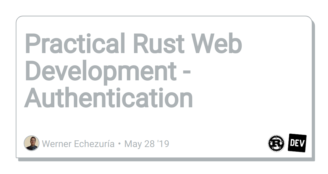 Practical Rust Web Development - Authentication - DEV