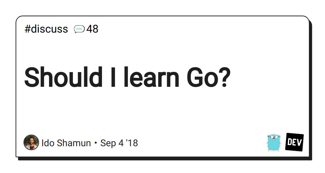 Should I learn Go? - DEV Community 👩 💻👨 💻