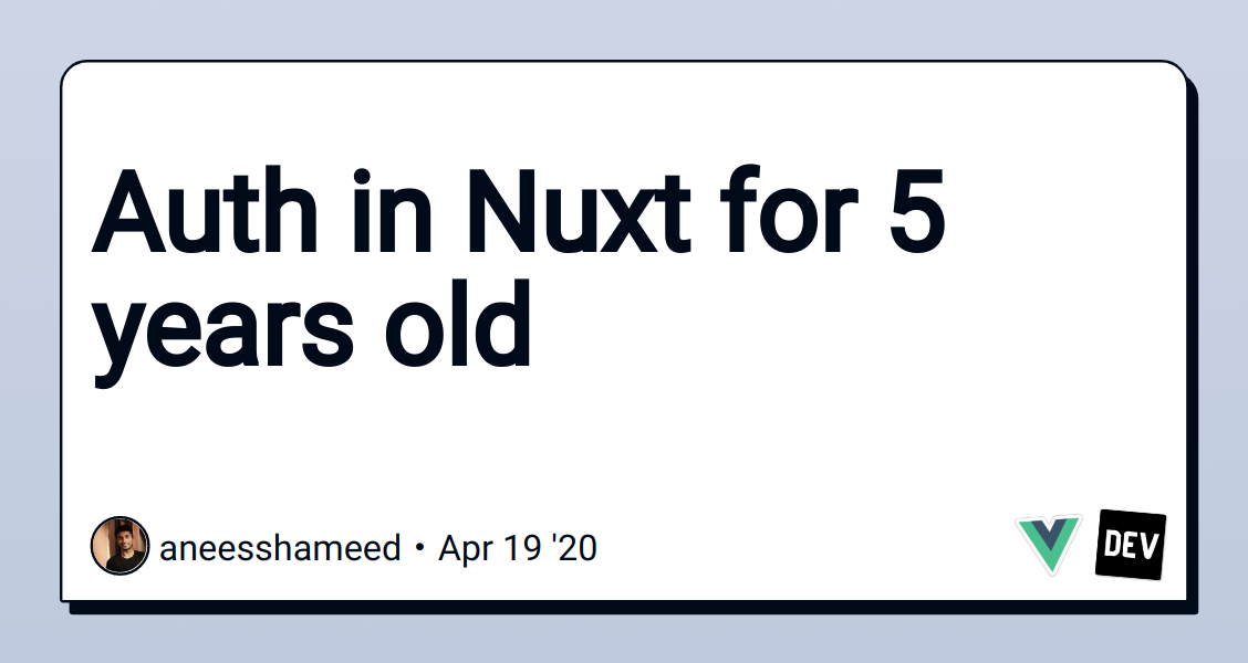 Auth in Nuxt for 5 years old